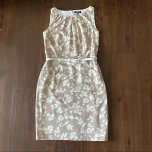Chaps Floral Sheat Dress Sleeveless Belted 10